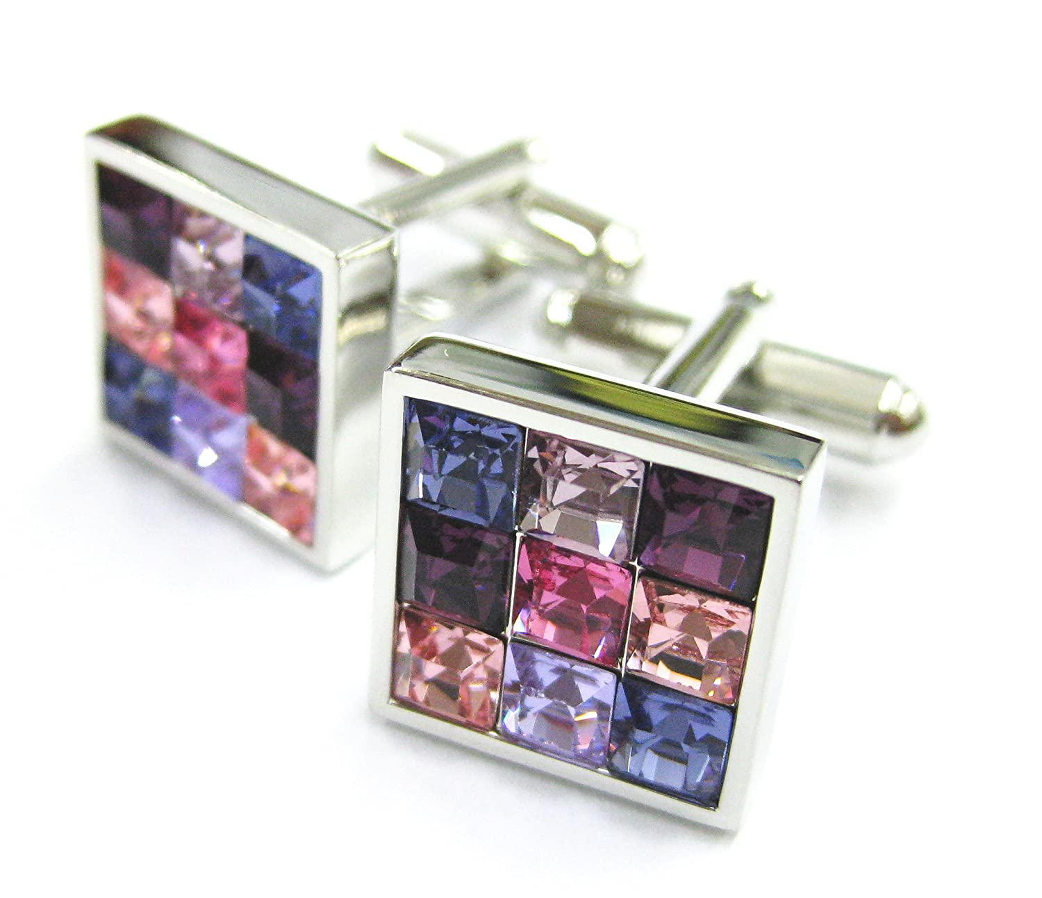Tailor B Purple and Pink Crystals Combo Cufflinks