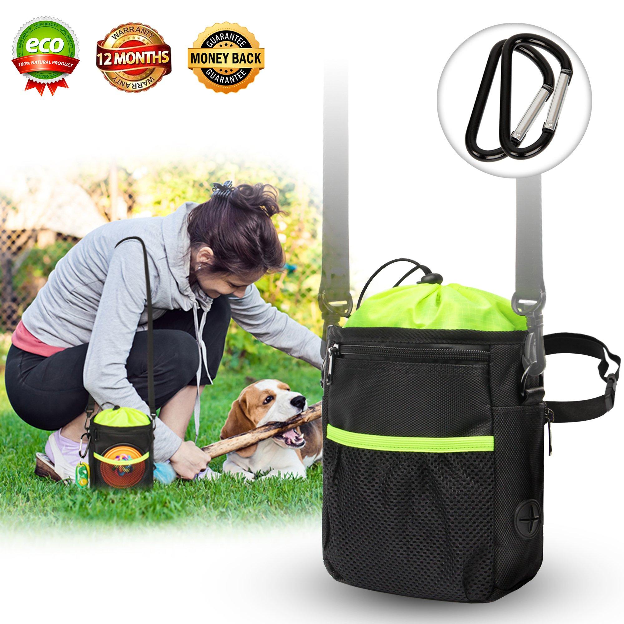 New Dog Treat Training Pouch bags - dog walking bag- Easily Carries Pet Toys, Kibble, Treats- Upgraded Adjustable - Removable Extra Long Waist Belt - Shoulder Strap - Improved Poop Bag Dispenser