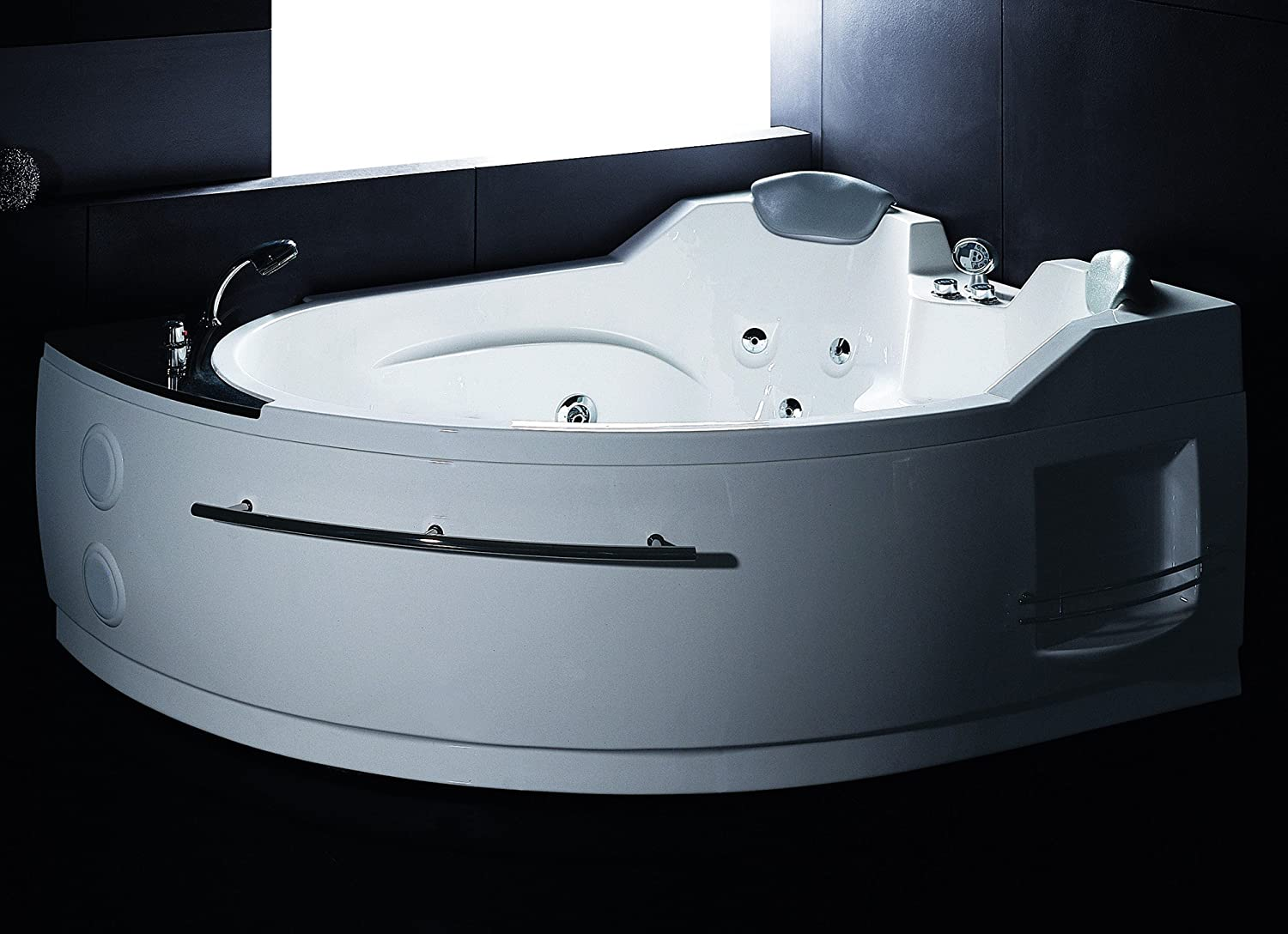 EAGO AM113-L Left Corner Whirlpool Jetted Bathtub for Two, White ...
