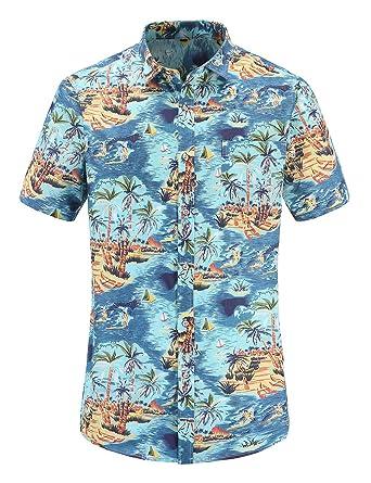 3b6f84486bc JEETOO Men s Pineapple Shirts Hawaiian Style Short Sleeve Summer Casual  (Blue-Coconut Tree