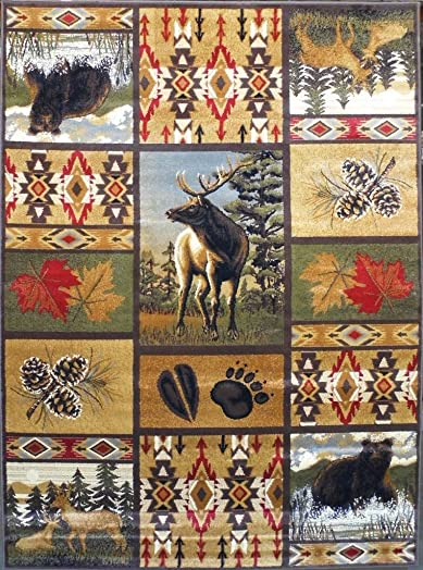 Masada Rugs Nature Area Rug Wildlife Bear and Elk Scene 5 Feet 2 Inch X 7 Feet 1 Inch
