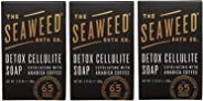 Seaweed Bath Co. Detox Cellulite Bar Soap (Pack of 3) with Coconut Oil, Kukui Oil, Bladderwrack Seaweed, Cinnamon Bark Powder and Charcoal Powder, 3.75 ounces