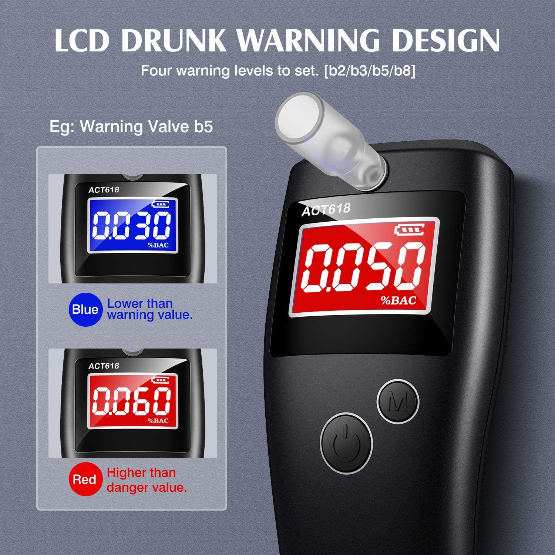 Kriogor Alcoholimetros Profesional Alcohol/ímetro Digital con 10 Boquillas Probador de Alcohol,Probador de Alcohol Port/átil con Pantalla LCD Sensor de Semiconductores