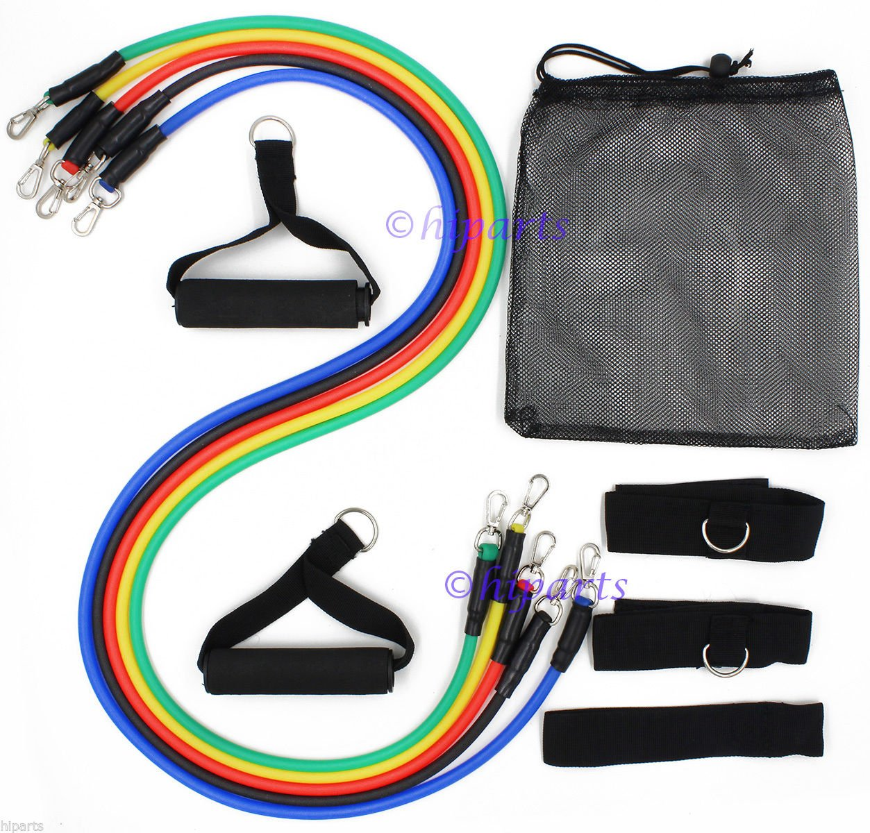 Premium 11 PCS Resistance Bands Set Yoga Abs Exercise Fitness Tube Workout Bands