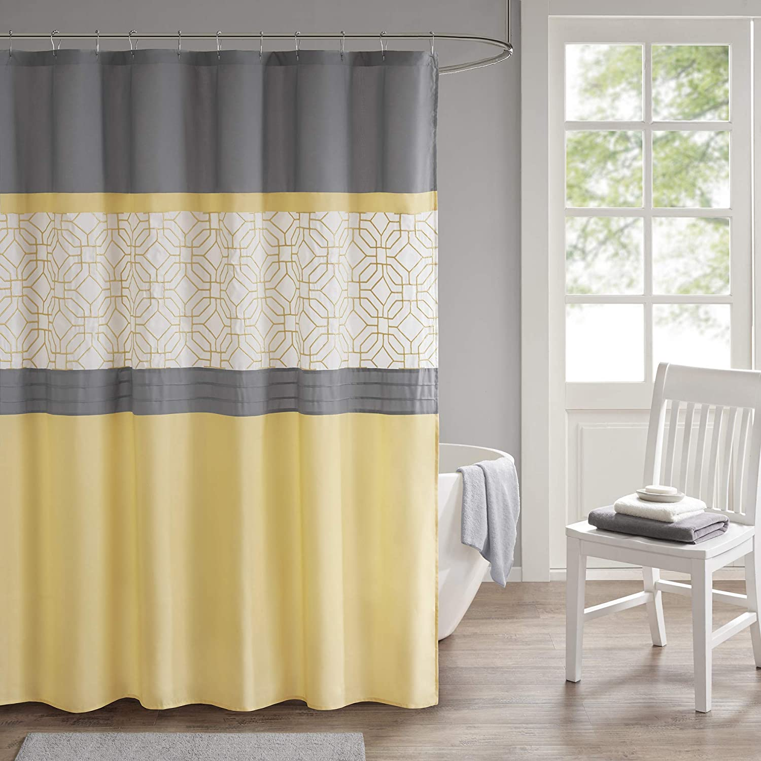 510 DESIGN Donnell Embroidered and Pieced Shower Curtain with Liner Yellow/Gray 72x72