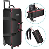 Neewer Roller Bag for Photography Photo Video Studio on Location Shoots,12.5x11.8x33 inches Carrying Bag for Camera Light Stand Umbrella Monolight LED Light Flash Speedlite and More(Black/Red)