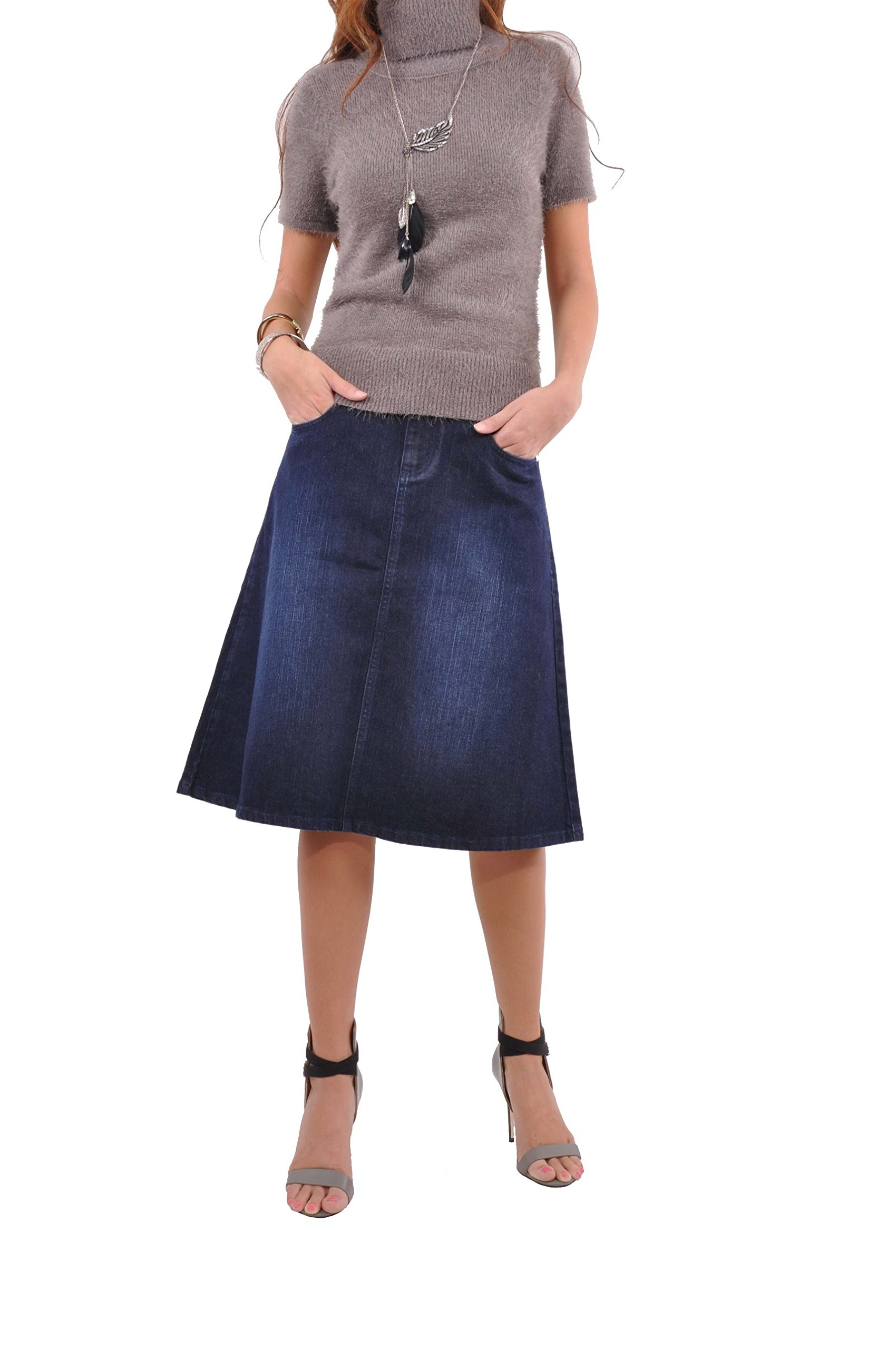 Style J Simply Me Denim Skirt-Blue-36(16) by Style J