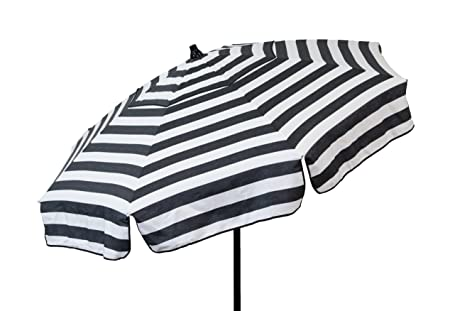 Heininger 1341 DestinationGear Italian Black and White 6 Acrylic Striped Patio Pole Umbrella