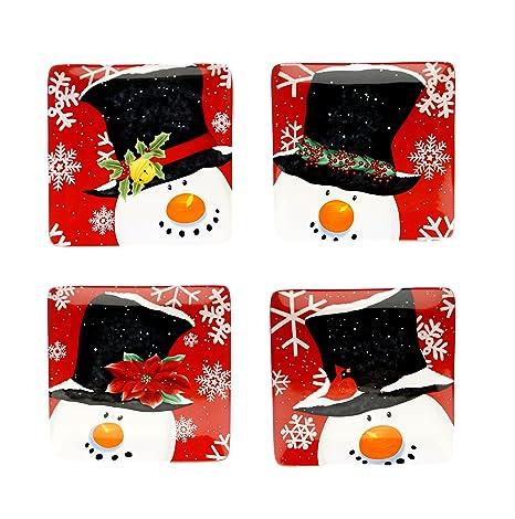 Amazon.com | Certified International Top Hat Snowman Dessert Plates ...
