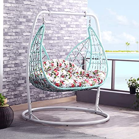 Amazon Com 2 Person Outdoor Hanging Basket Chair Home Pe Rattan