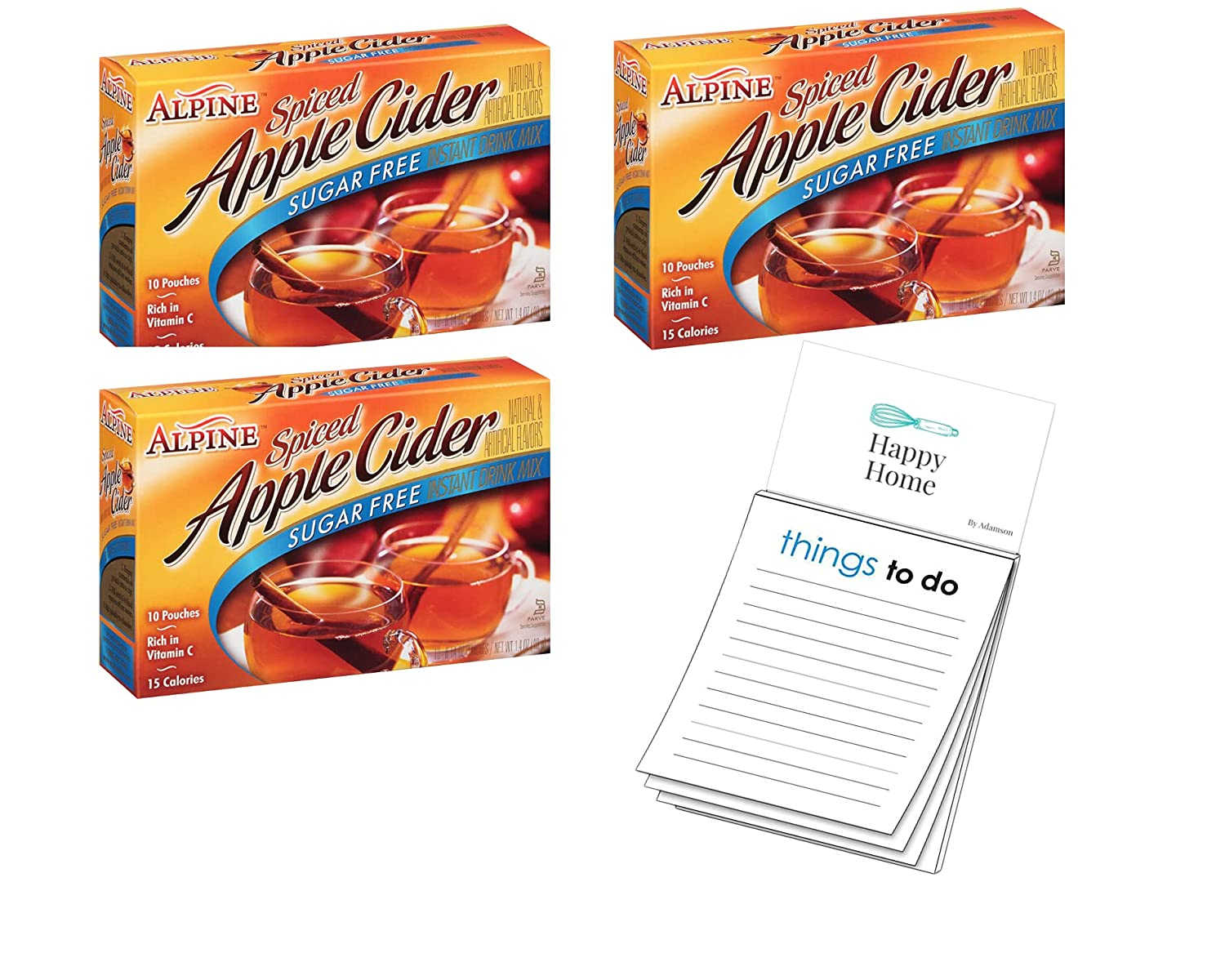 Alpine,Sugar Free Spiced Cider, Apple Flavored Drink Mix, 1.4oz Box (Pack of 3) 30 packet