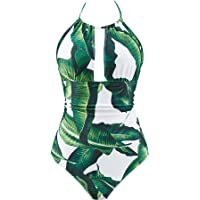 fbaf4205d253c B2prity Women's One Piece Swimsuits Tummy Control Swimwear Slimming  Monokini Bathing Suits for Women Backless V