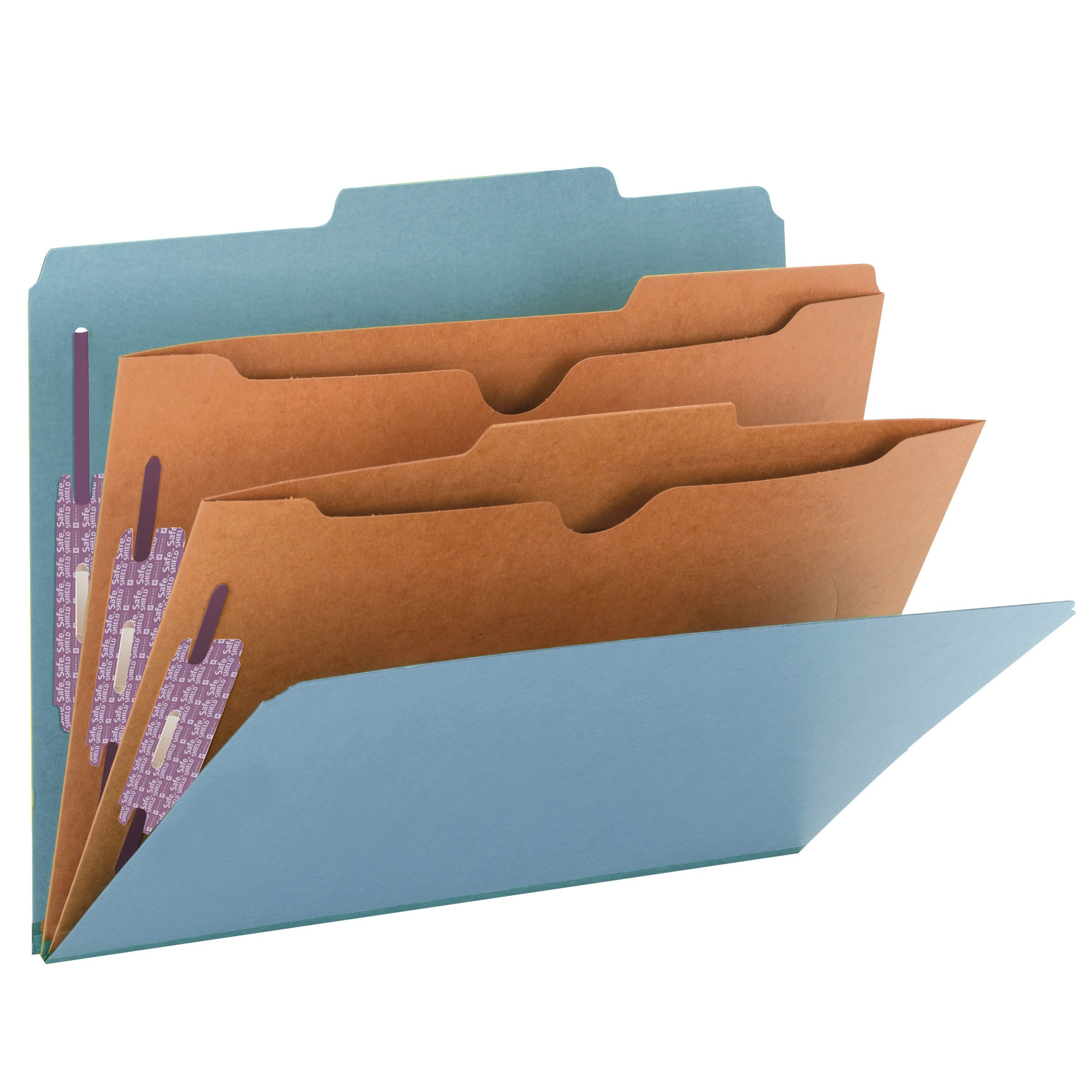 Smead Pressboard Classification File Folder with SafeSHIELD Fasteners, 2 Pocket Dividers, 2'' Expansion, Letter Size, Blue, 10 per Box (14081) by Smead