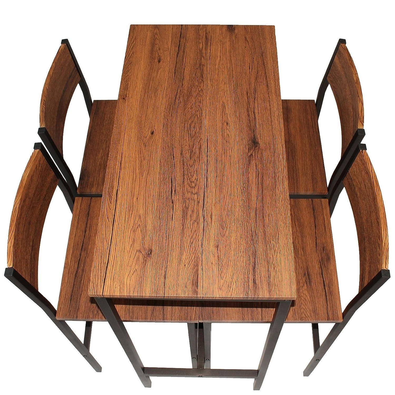 Set Tisch Bar und 4 Hocker Design Braun Walnuss Pizzeria Mod ...