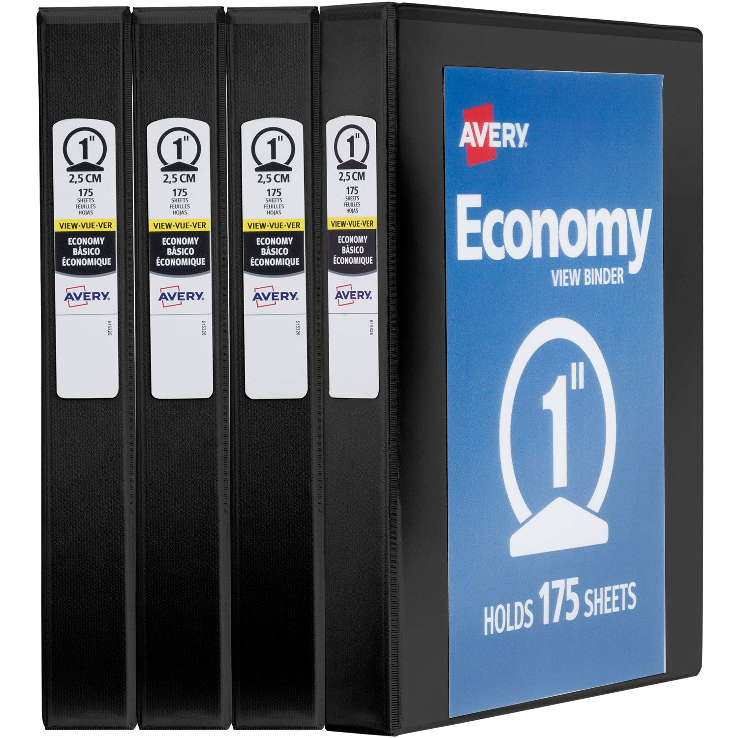 Avery 1'' Economy View 3 Ring Binder, Round Ring, Holds 8.5'' x 11'' Paper, 4 Black Binders (19203) by AVERY