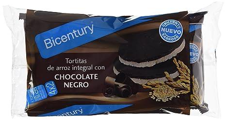 Bicentury Tortitas Nackis Arroz Integral Con Chocolate Negro - Pack de 4 x 32.6 g -