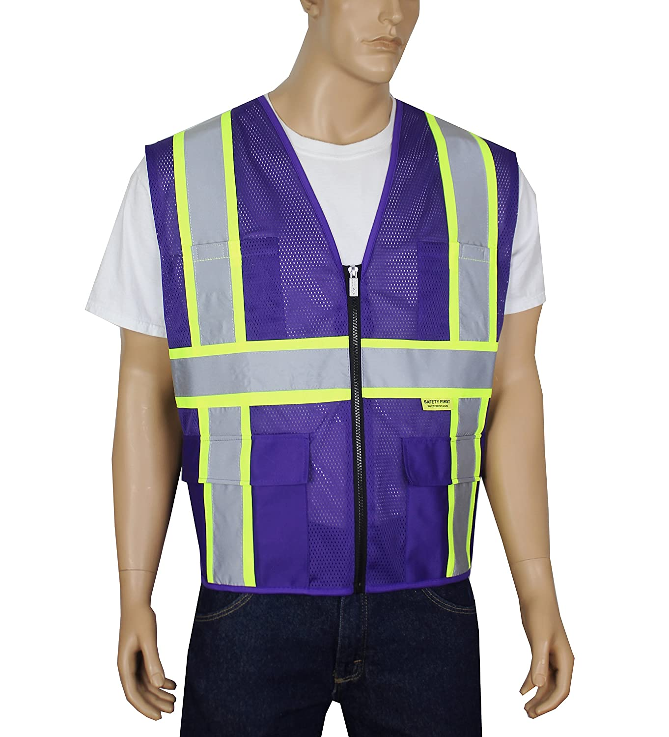 Safety Depot Class 2 ANSI Approved Safety Vest 4 Lower Pockets, 2 Chest Pockets with Pen Divider & High Visibility Reflective Tape 7048A (Lime Yellow, 4XL) 2W
