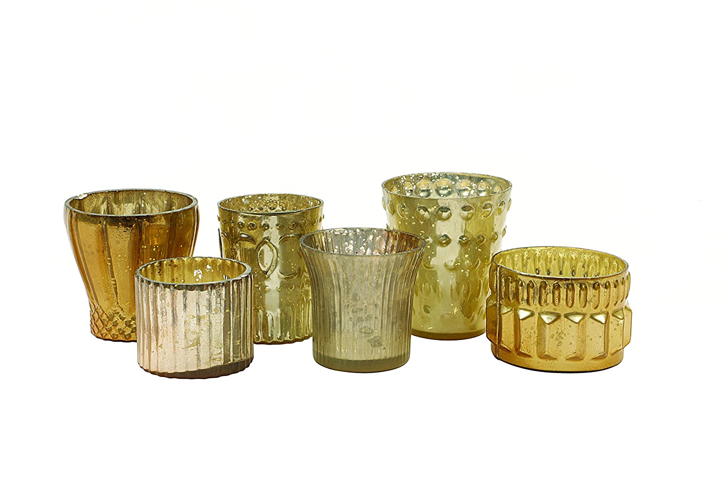 Assorted Cream & Gold Mercury Glass Votive Tealight Candle Holders Set of 6