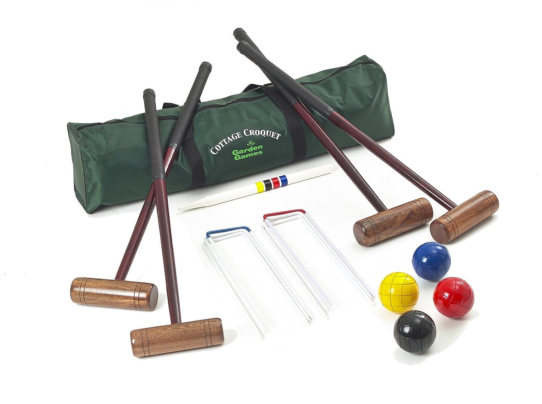 Garden Games 204 - Cottage Krocket Set für 4 Spieler, Hartholz mit einer praktischen Tragetasche