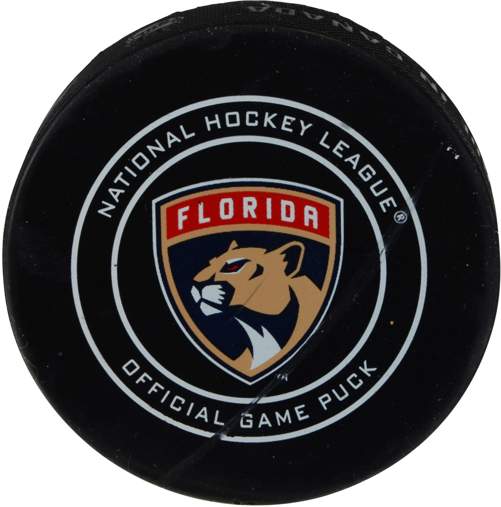 Florida Panthers Game Used Puck vs. Boston Bruins on April 5, 2018 Fanatics Authentic Certified Game Used NHL Pucks