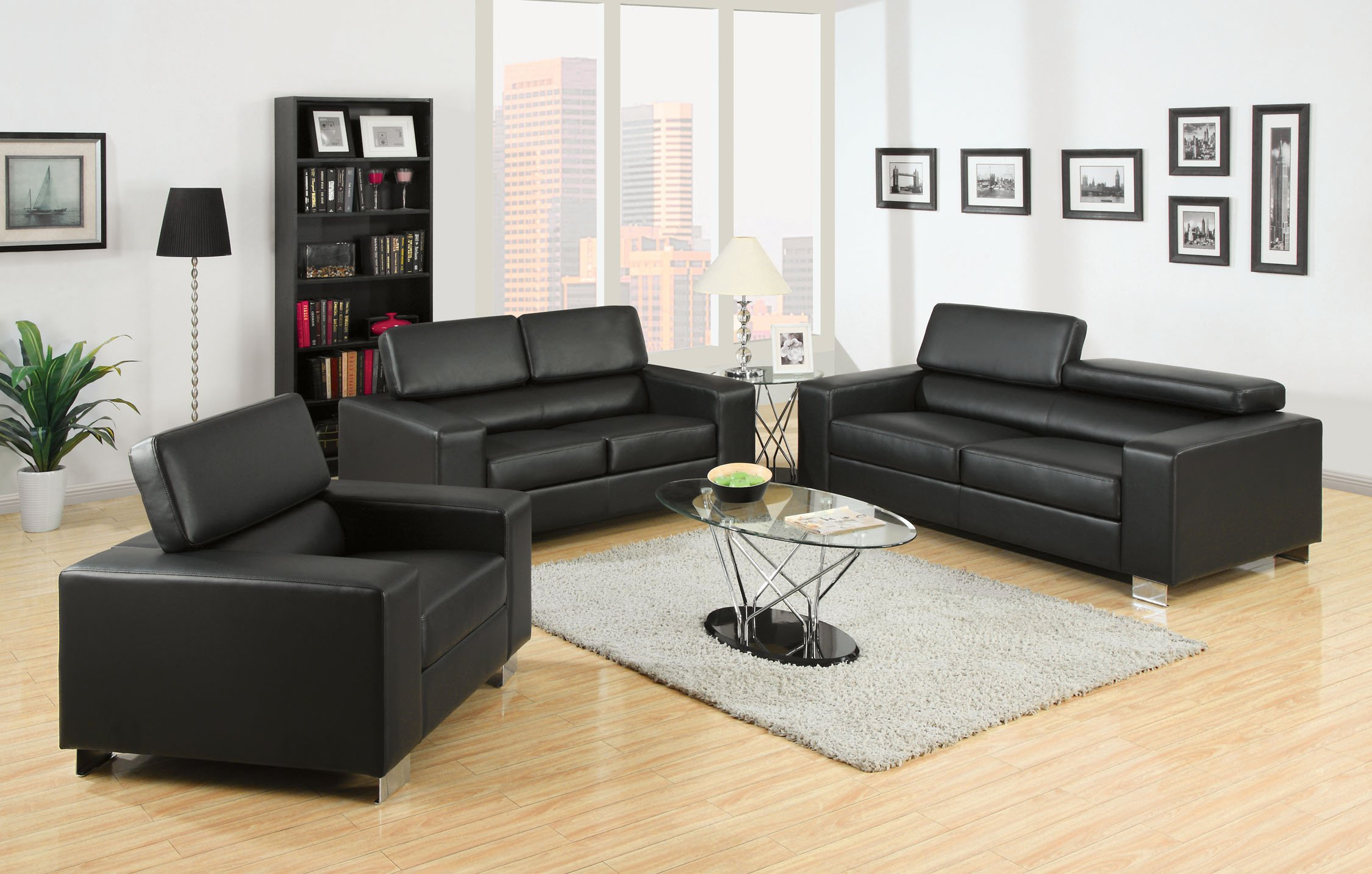 Furniture of America Bloomsbury 2-Piece Bonded Leather Match Sofa Set