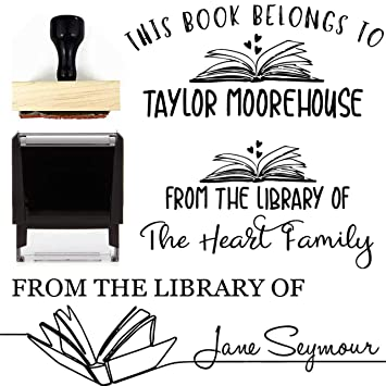 Design 1 from The Library of Book Stamp This Belongs to Personalized Self-Inking or Wood Handle Custom Classroom Library Teacher Customized Name from The Ex-Libris of 7//8 x 2 3//8