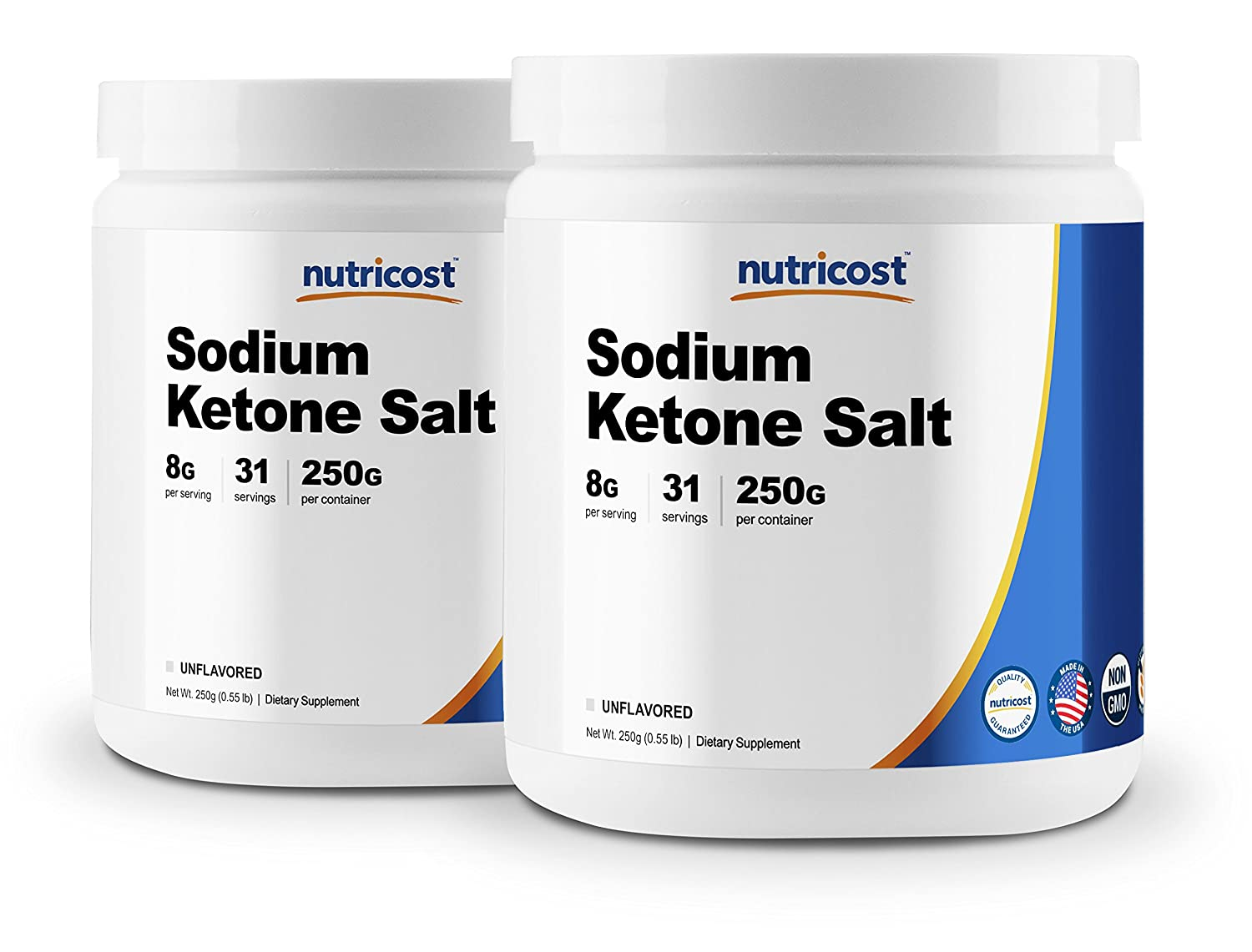 Nutricost Sodium BHB Salts, Exogenous Ketone Supplement, 6.5g Beta-Hydroxybutyrate Per Serving, 250 Grams 2 Bottles