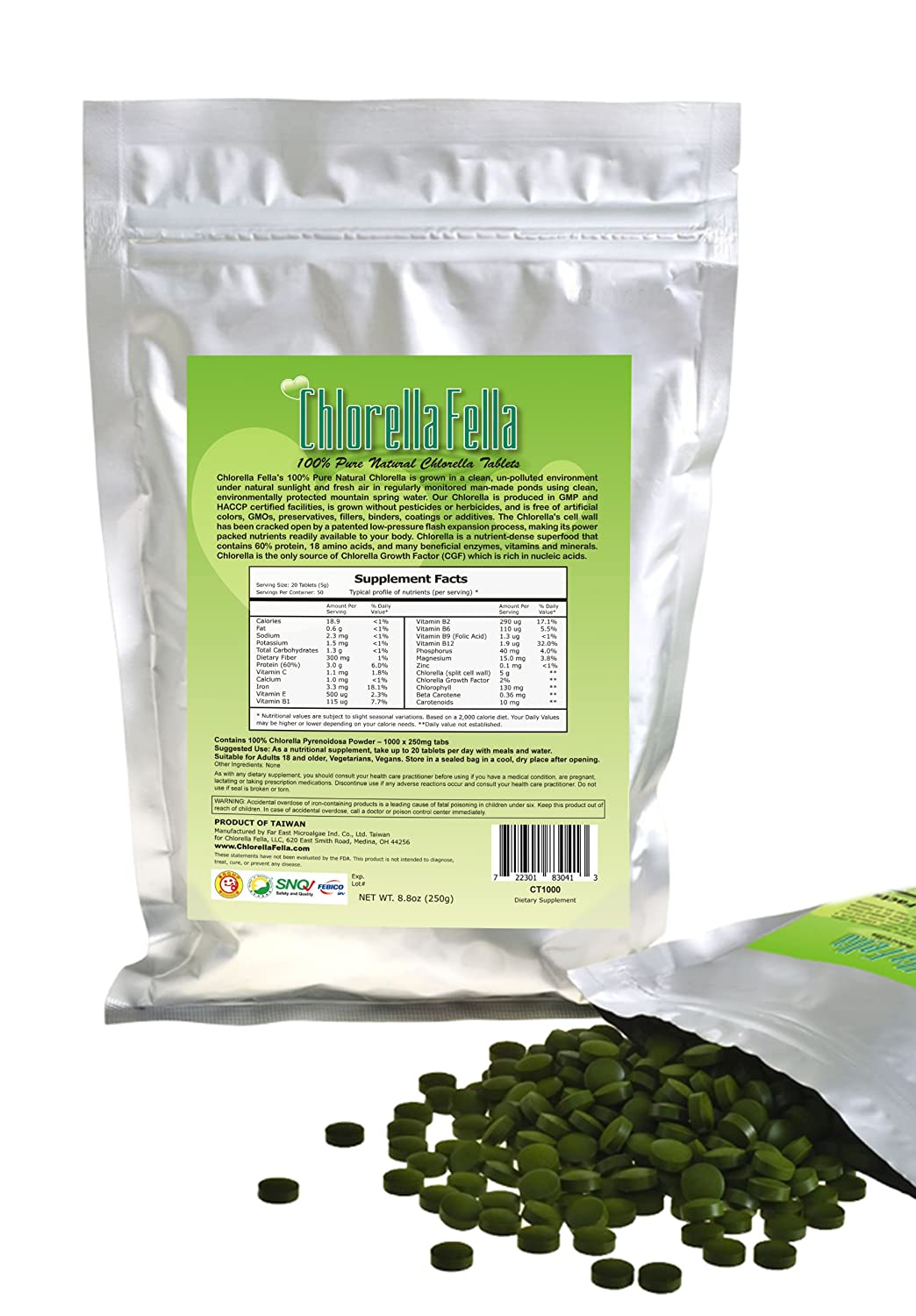 Chlorella Tablets 100 Pure Natural Taiwan Premier Quality Chlorella Tablets 1000 250mg Tabs Per Pack 8.8oz