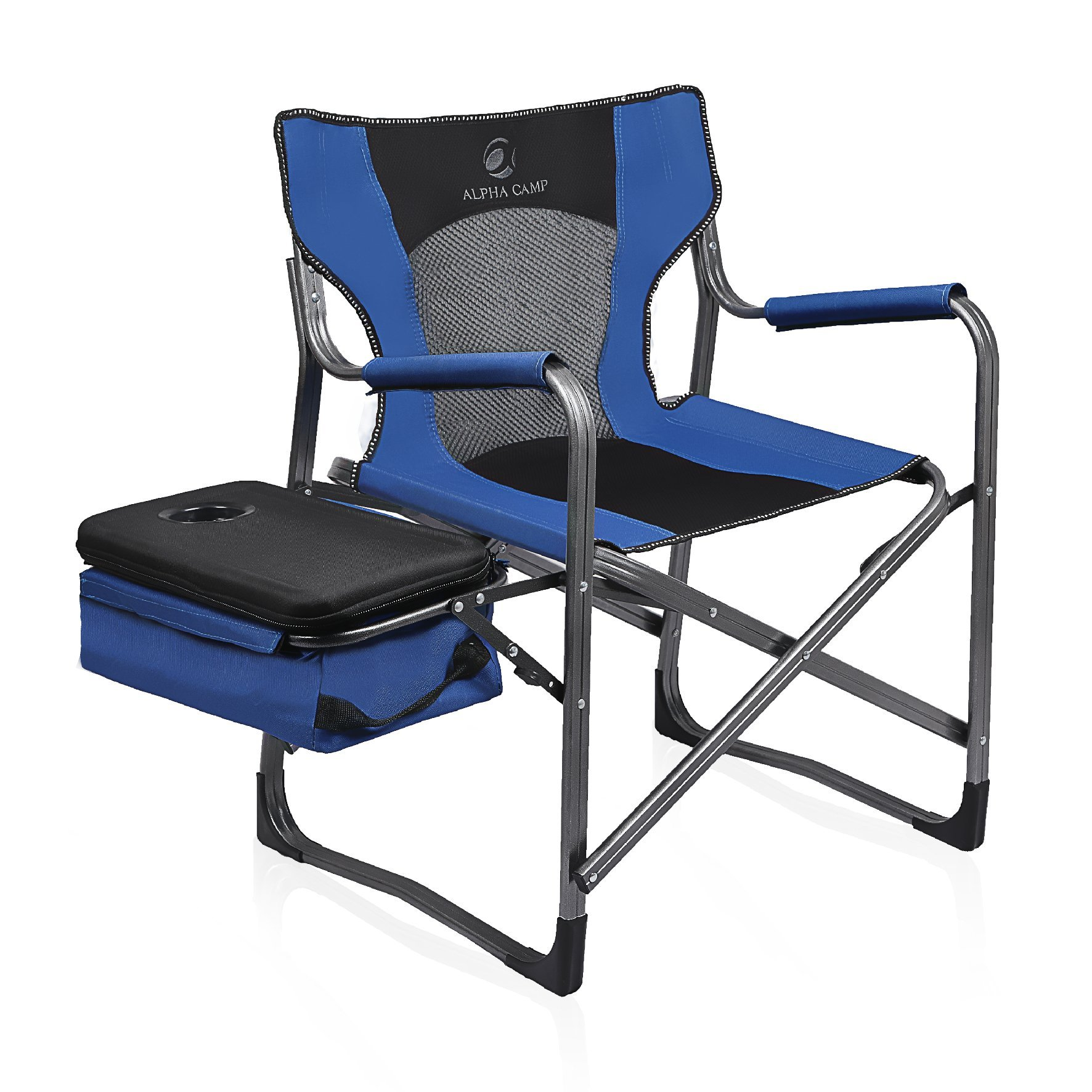 ALPHA CAMP Folding Camping Chair Director's Cooler Chair with Mesh Back