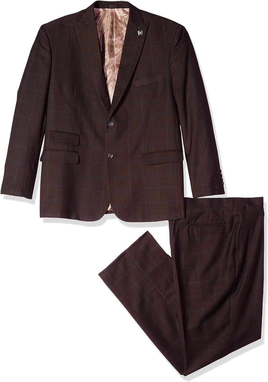STACY ADAMS Men's 3-Piece Peak Lapel Plaid Windowpane Vested Suit