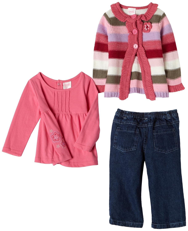 Nannette Baby Girls 3 Piece Stripe Sweater Set Pink//Blue