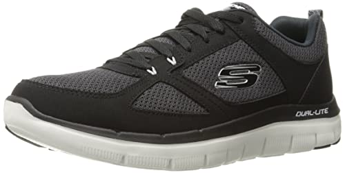 Skechers Herren Flex Advantage 2.0 Low Top, Schwarz (BlackWhite), 39 EU