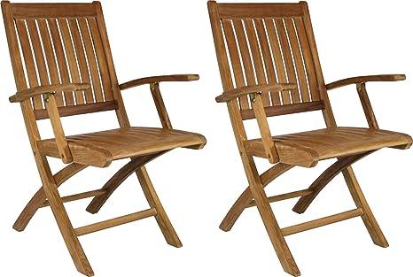 Amazon.com: Santa Barbara de teca silla plegable de brazo ...