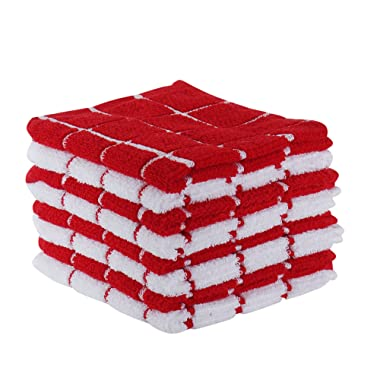 "The Weaver's Blend Set of 8 Terry Dish Cloths, Check Design, 100% Cotton, Absorbent, Size 12""x12"", Red Check,Kitchen Towels and Dish Cloths"