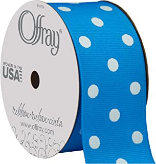 "product image for Offray 945841 1.5"" Wide Grosgrain Ribbon, Island Blue and White Polka Dot, 3 Yards"