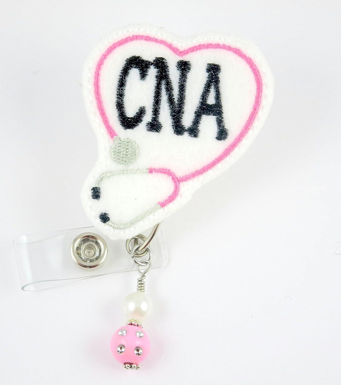 CNAハート聴診器ピンク – ナースバッジリール – Retractable IDバッジホルダー – ナースバッジ – バッジクリップ – バッジReels – Pediatric – RN – 名前バッジホルダー   B014U1GBXY