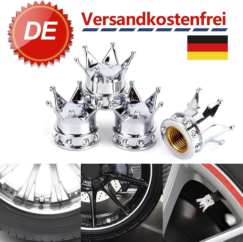 SurePromise One Stop Solution for Sourcing 4X Ventilkappen Krone Kronen Design Motorradventilkappen Auto-Ventil Motorradventilkappen Umbauten Fuer Auto PKW LKW Gold Silber Schwarz
