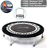 MaXimus Pro Gym Rebounder Mini Trampoline with handle bar. Package Includes Great Compilation Rebound DVD, & 3 MONTHS FREE VIDEO MEMBERSHIP! 150kg user weight.