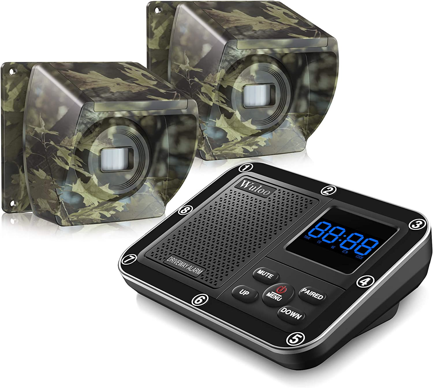1800 Ft Wireless Outside Driveway Alarm Outdoor Motion Sensor & Detector Driveway Alert System, Rechargeable Battery/Weatherproof/Mute Mode/Clock and Alarm Functional (1&2-Camouflage)
