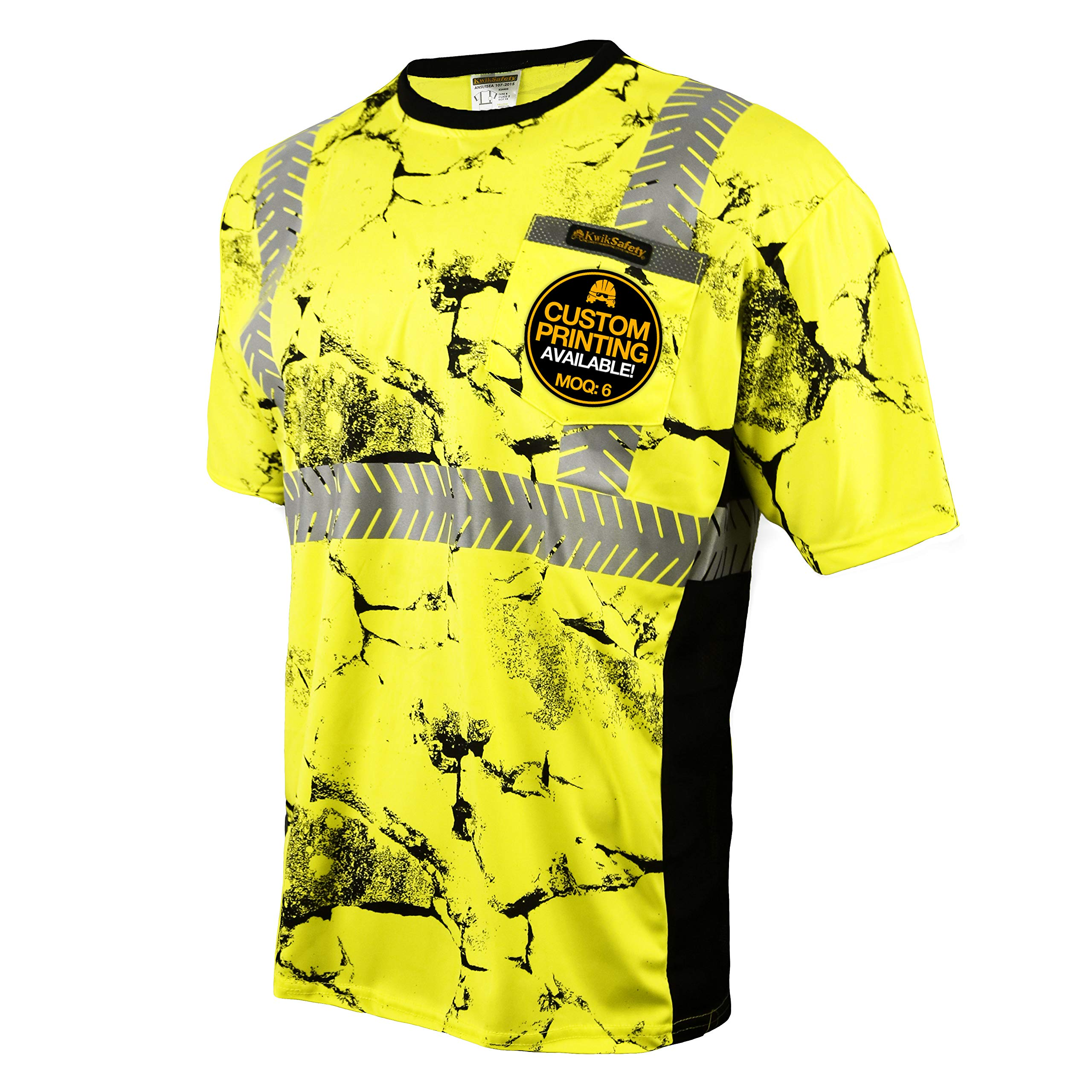 KwikSafety (Charlotte, NC) UNCLE WILLY'S WALL (Chest Pocket) Class 2 ANSI High Visibility Safety Shirt Fishbone Reflective Tape Construction Hi Vis Clothing Men Short Sleeve Camo Yellow Black XX-Large