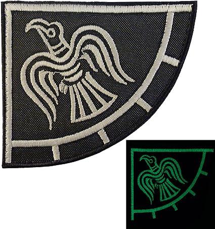 Norse Viking Raven rubber PVC glow dark GITD badge morale emblem fastener patch