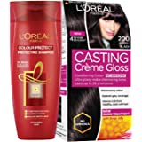 L'Oreal Paris Casting Creme Gloss, 200 Ebony Black, 87.5g with Free Hair Expert Color Protect Shampoo, 175ml