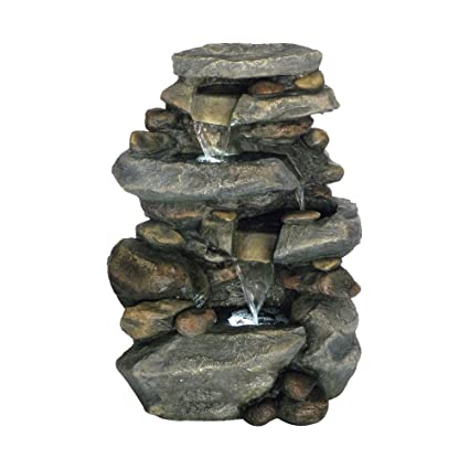 Outdoor Water Fountain With LED Lights, Lighted Cascade Waterfall, Natural  Looking Stone And Soothing