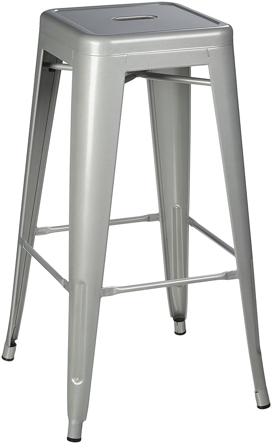 Pioneer Square Haley 30-Inch Backless Square-Seated Metal Bar Stool, Set of 4 – Silver