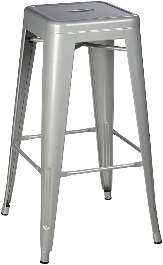 Groovy Pioneer Square Haley 30 Inch Backless Square Seated Metal Bar Stool Set Of 4 Silver Machost Co Dining Chair Design Ideas Machostcouk