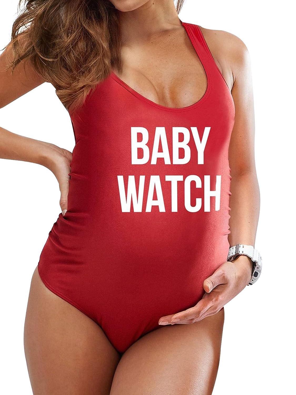 f0f8f703c9 Amazon.com: ZXZY Women Plus Size Letter Print Swimsuit Baby Watch One Piece  Swimwear for Pregnant: Clothing
