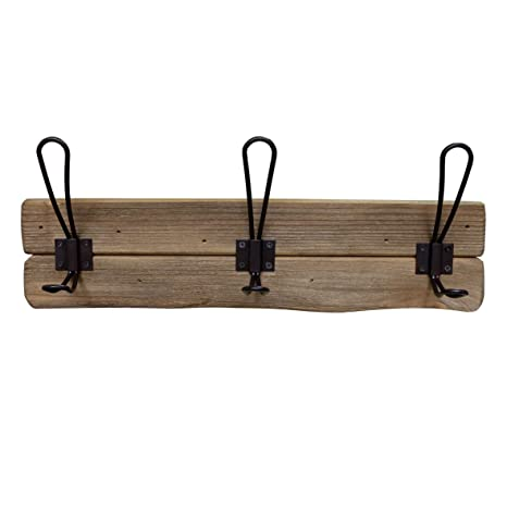 CVHOMEDECO. Rustic Solid Wood Wall Mounted Coat Rack with 3 Double Hooks Primitives Wooden Coat Hooks for Entryway, Kitchen, Bathroom. Brown.