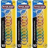 """Bazic 1"""" Metal Book Rings, Assorted Nickel-Plated Steel Rings (3-Pack of 10)"""