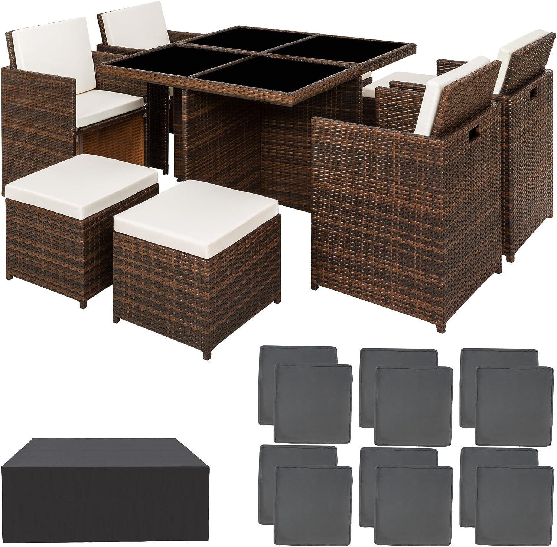 TecTake Conjunto muebles de jardín en aluminio y ratán sintético comedor juego 4+4+1 + funda completa + set de fundas intercambiables | tornillos de acero inoxidable - disponible en diferentes colores