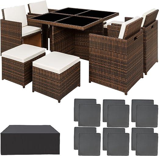 TecTake Ensemble Salon de jardin en Aluminium Résine Tressée Poly Rotin  Table Set 4+1+4 + Housse de Protection   Vis en Acier Inoxydable   avec  deux ...